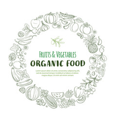 round frame border pattern organic farm fresh vector image