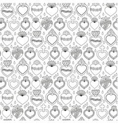 Sacred heart seamless pattern vector