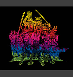 Samurai warriors with weapons action vector