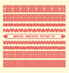 Seamless orientals horizontals patterns vector