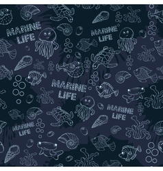 Seamless pattern Marine life vector image vector image