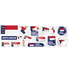 set flags american state north vector image