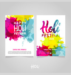 set holi festival a4 backgrounds with abstract vector image