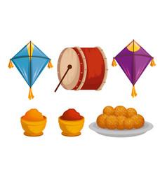 Set kites with drum and food to makar sankranti vector