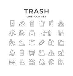 Set line icons trash vector