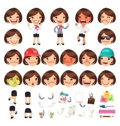 Set of Cartoon Female Manager Character vector
