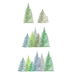 set of colorful hand drawing christmas tree vector image