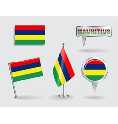 Set of Mauritius pin icon and map pointer flags vector image