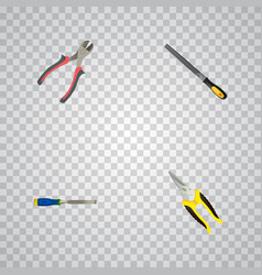 set of tools realistic symbols with carpenter vector image