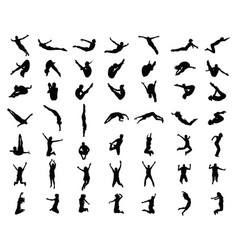 silhouettes jumping people vector image