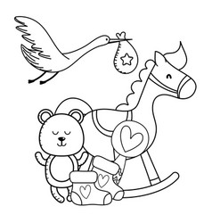 stork and baby toys in black and white vector image