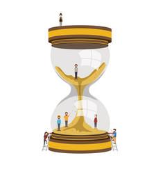 Teamwork mini people doing hourglass vector