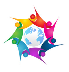 Teamwork people surrounding earth icon logo vector
