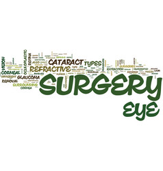 the different types of eye sugery text background vector image