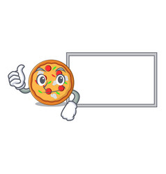 thumbs up with board pizza character cartoon style vector image