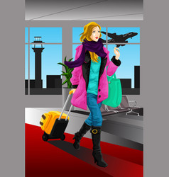 traveling woman vector image