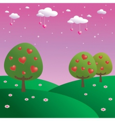 trees of hearts vector image