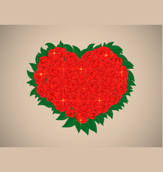 valentine with a bouquet of brilliant red roses vector image