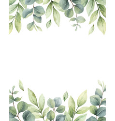 Watercolor card green branches and vector