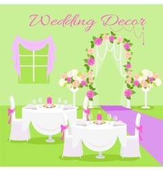 Wedding ceremony decor flat design concept vector