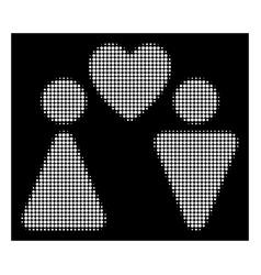 White halftone love couple icon vector