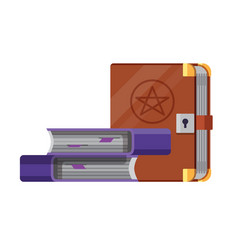 witchery and occult spell books flat icon vector image