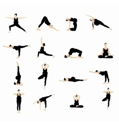Yoga postures silhouette set vector image
