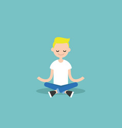 Young blond boy meditating with closed eyes in vector
