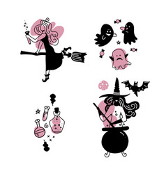 Young happy and attractive witches stickers vector