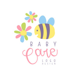 baby care logo label for kids club baby or toys vector image