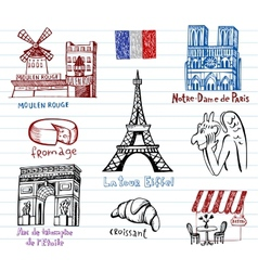 France symbols as funky doodles vector image vector image