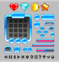 game interface buttons and items ui set vector image