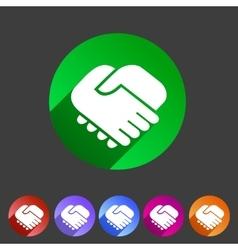 Handshake icon flat web sign symbol logo label vector image vector image