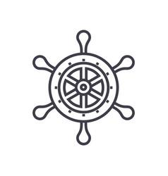 handwheel line icon sign on vector image vector image