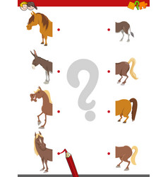 match the halves of horses vector image