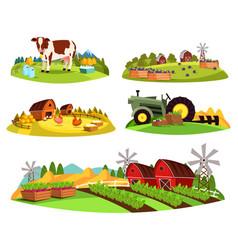 village countryside views on garden and barn vector image vector image