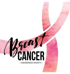 Breast cancer card Awareness month ribbon vector image