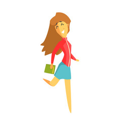 cheerful student girl jumping and holding a book vector image