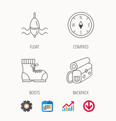 Compass fishing float and hiking boots vector