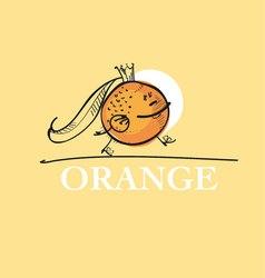 cute king orange cartoon character of mascot fruit vector image