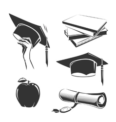 elements for vintage graduation labels vector image vector image