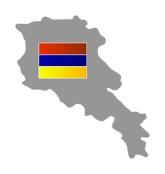 map with flag of Armenia vector image