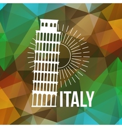 Pisa label or logo over geometric background vector image vector image