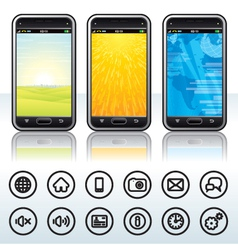 Smartphone with Contour Icons vector image vector image