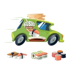 Sushi delivery green car vector