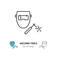 Welding tools icon welding machine and welder vector
