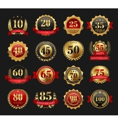 Anniversary golden signs set vector image