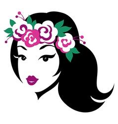 beauty girl wreath vector image vector image
