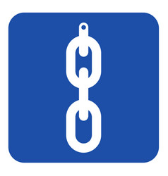 blue white sign - hanging chain with hole icon vector image
