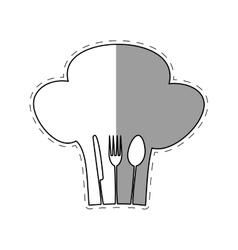 Hat chef cook fork spoon knife restaurant emblem vector